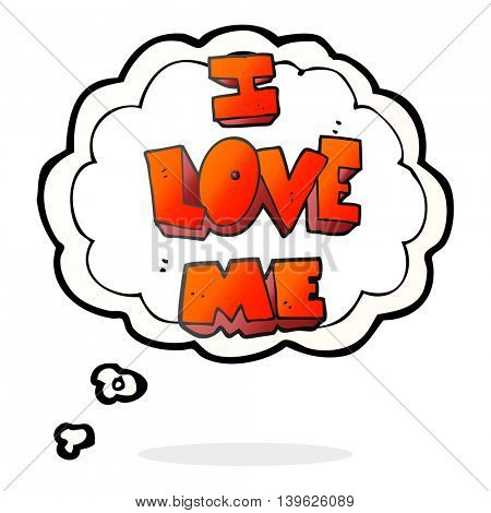 i love me freehand drawn thought bubble cartoon symbol