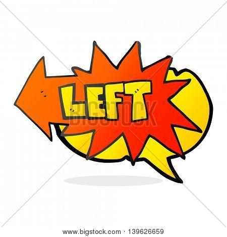 freehand drawn speech bubble cartoon left symbol