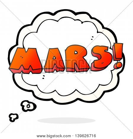 freehand drawn thought bubble cartoon Mars text symbol