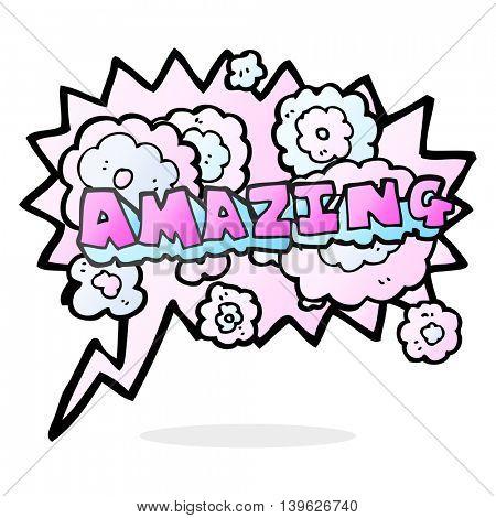 freehand drawn speech bubble cartoon amazing word