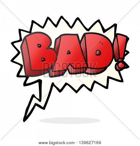freehand drawn speech bubble cartoon Bad symbol
