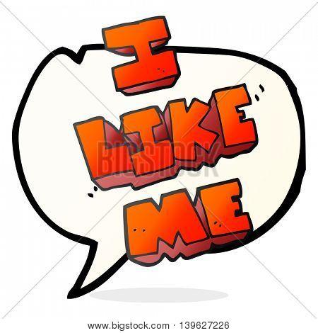 freehand drawn speech bubble cartoon i like me symbol