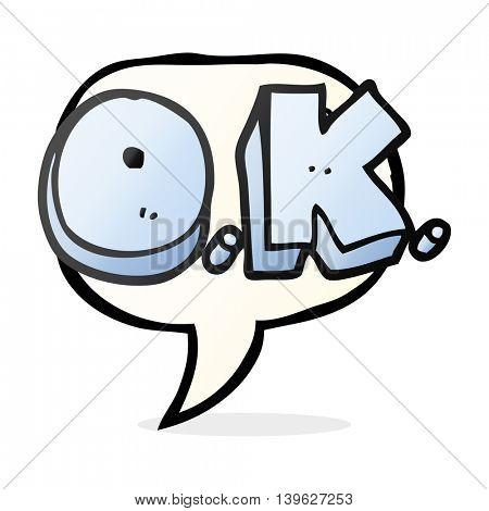 freehand drawn speech bubble cartoon word OK