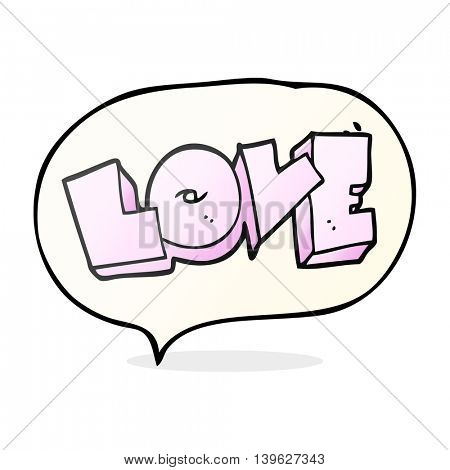 freehand drawn speech bubble cartoon love sign