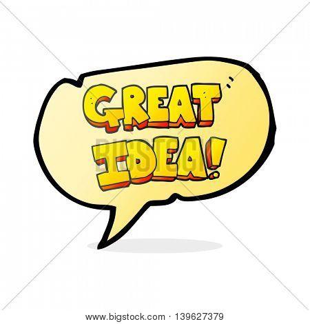 freehand drawn speech bubble cartoon GREAT IDEA symbol