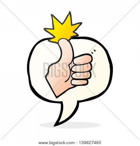 freehand drawn speech bubble cartoon thumbs up