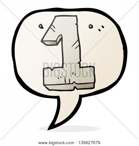 freehand drawn speech bubble cartoon stone number one