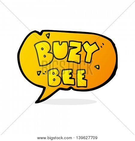 freehand drawn speech bubble cartoon buzy bee text symbol