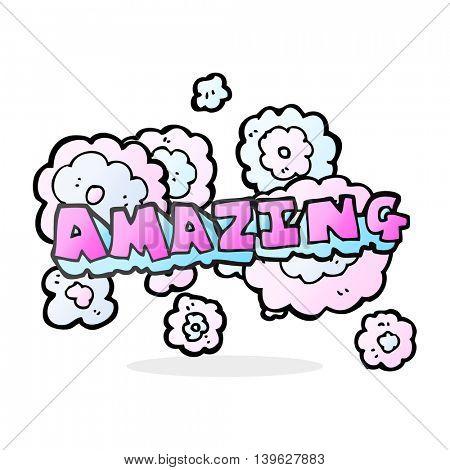 freehand drawn cartoon amazing word