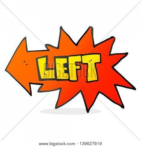 freehand drawn cartoon left symbol