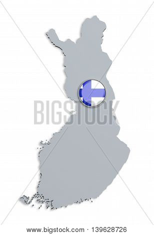 Silhouette Of Finland Map With Flag On Button