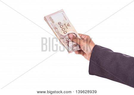 Close Up Thai Businesswoman Holding Money Isolated On White