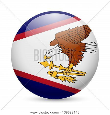 Flag of American Samoa as round glossy icon. Button with flag design