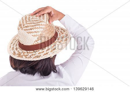 Close Up Thai Women Wear Handmade Hat Isolated On White
