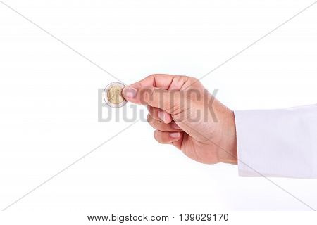 Woman Hand Holding Coin Isolates On White