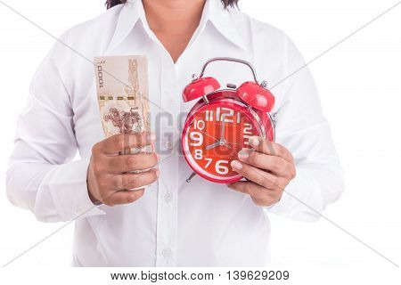 Woman Holding Thai Money And Red Alarm Clock Isolated On White. Buy Some Time Concept
