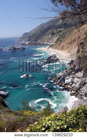 Wild scenery of Big Sur coastline, California. Portrait orientation.