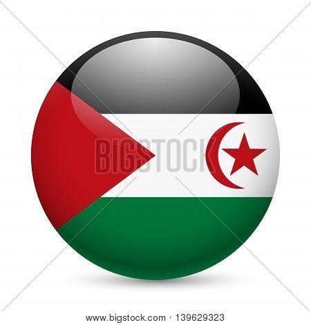 Flag of Sahrawi Arab Democratic Republic as round glossy icon. Button with flag design