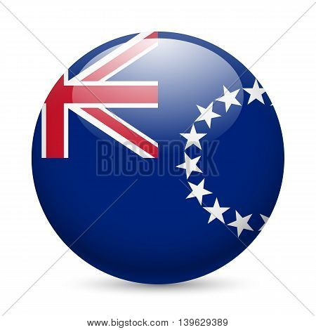 Flag of Cook Islands as round glossy icon. Button with flag design