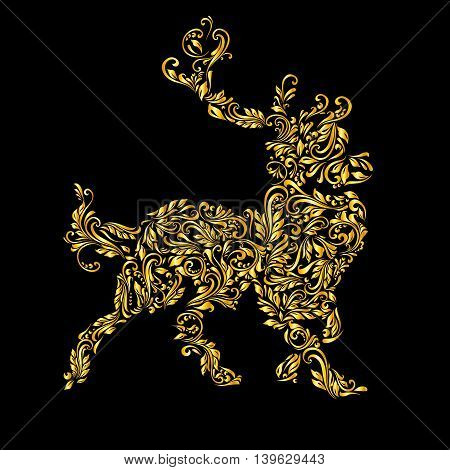 Floral gold pattern of vines in the shape of a deer on a black background