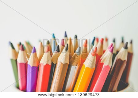 Colorful Multi-Color Of Pencil Isolated On White Background.