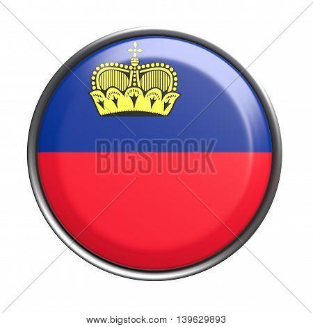Button With Liechtenstein Flag