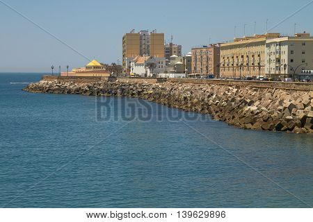 Ancient City of Cadiz on the Spanish Atlantic Coast in Andalusia Spain.