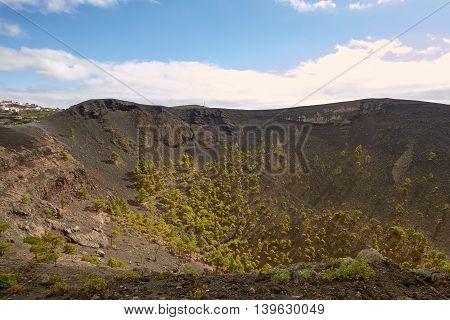 Crater Of Volcano San Antonio In Las Palmas At Canary Islands