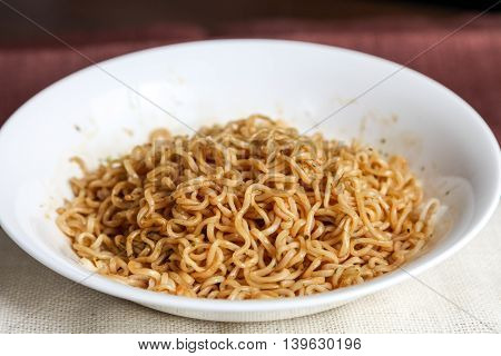 Japanese traditional food instant udon noodles on plate