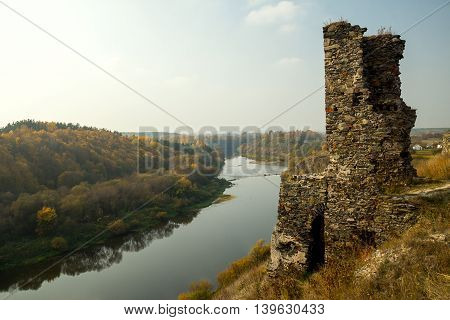 Castle ruins on a hill near the river