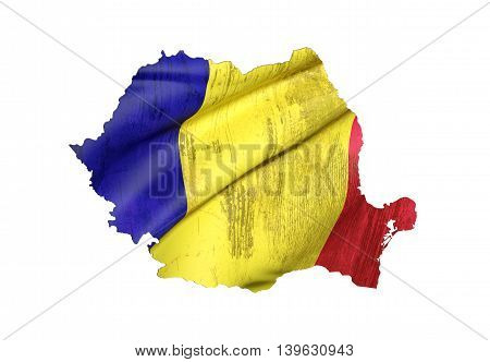 Silhouette Of Romania Map With Flag