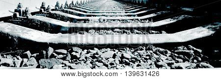 Railway track. Perspective view. Close up image. Monochrome image