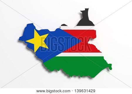 Silhouette Of South Sudan Map With Flag