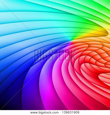 Background is made of different colored waves. Rainbow.