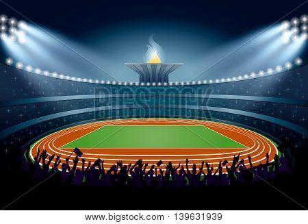 Excited Crowd Of People At Athletics Stadium. Vector Illustration