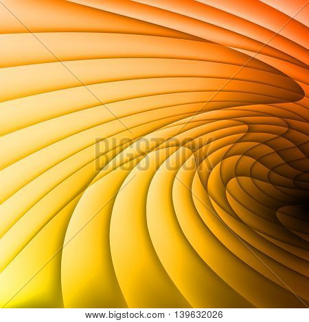 Backdrop is made of orange and yellow waves.