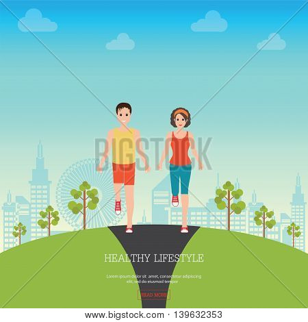 Front view of Man and Woman Jogging Together on city view background Running Man and Woman Outdoor Jogging Couple healthy lifestyle conceptual vector illustration.