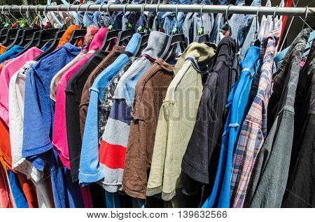 The washing clothing  line to dry in the sun.