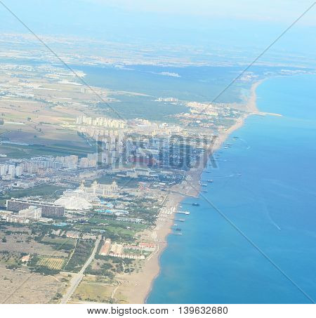 Aerial view of town and beach, Turkey, Antalya