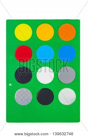 Green Sheet With Different Colorful Round Color Samples