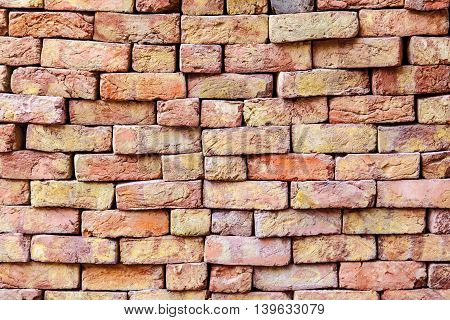 stapled bricks give a harmonic pattern in red