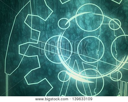 Industry theme relative abstract background concept. Blue print backdrop. Neon shine drawn