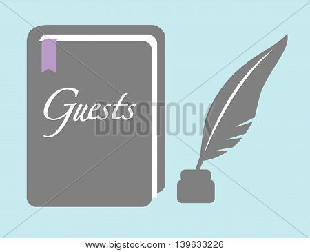Guestbook With Quill Pen