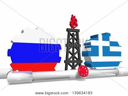 image relative to gas transit from russia to greece. 3D rendering