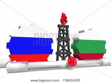 image relative to gas transit from russia to bulgaria. 3D rendering
