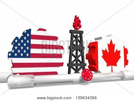 image relative to gas transit from usa to canada. 3D rendering