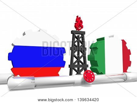 image relative to gas transit from russia to italy. 3D rendering