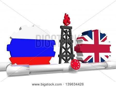 image relative to gas transit from russia to great britain. 3D rendering