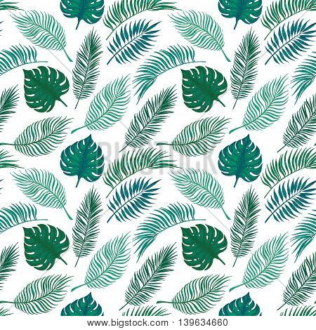 Hand Drawn Vector Seamless Pattern - Palm Leaves. Tropical Design Elements. Summer Background