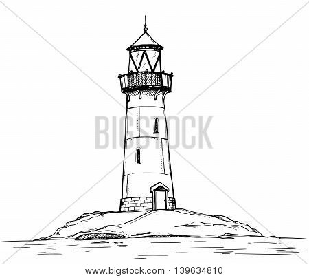 Hand Drawn Vector Illustration - Lighthouse On The Sea. Background Of Landscape Nature